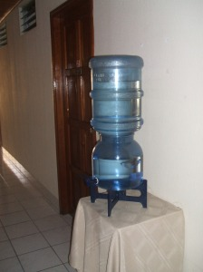 Our only picture of Managua is of the water cooler in the hotel lobby.