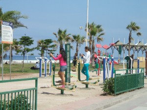 Exercise equipment is available on the beach for everyone to use.